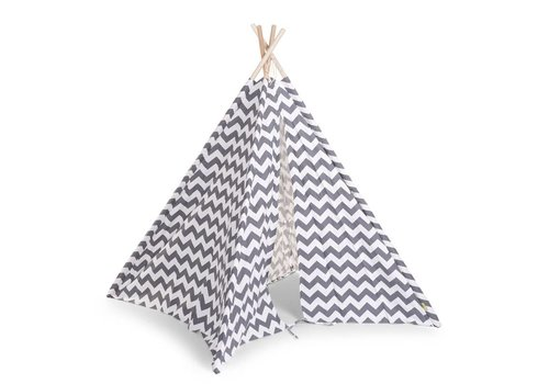 Childhome Childhome Tipi Tent Zigzag Grey-White