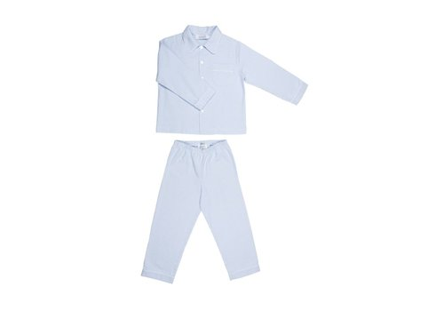 Cotolini Cotolini Pyjamas Mathieu Flannel Striped Sky - White