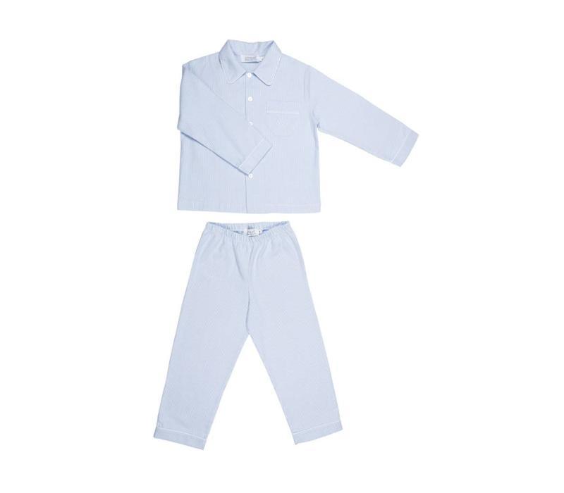 Cotolini Pyjamas Mathieu Flannel Striped Sky - White