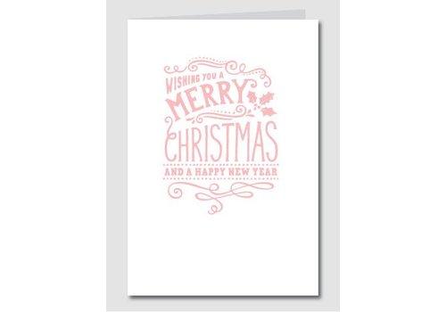 Papette Papette Kerstkaart 'Merry Christmas - Happy New Year' Roze