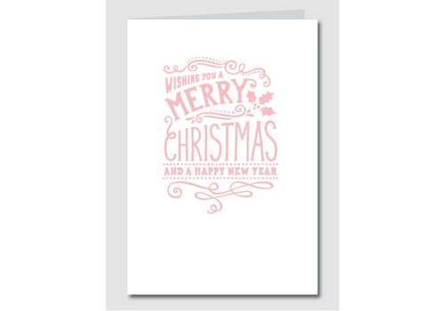 Papette Papette XMAS Christmas Card Merry Christmas/ Happy New Year - Pink