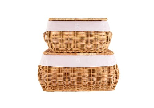 Theophile & Patachou Theophile & Patachou Set Van 2 Wicker Toy Cases + Cover Linen Blush Pink