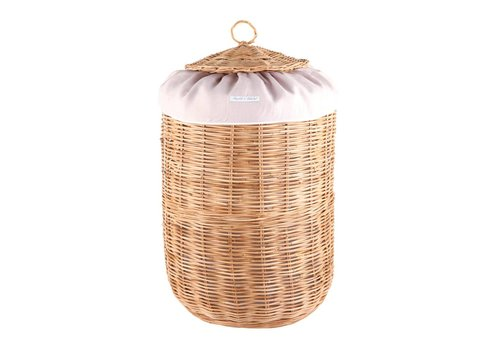Theophile & Patachou Theophile & Patachou Round Wicker Basket + Cover Linen Blush Pink