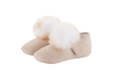 Theophile & Patachou Theophile & Patachou Ballerina's Nubuck Pom Pom Fur - Beige