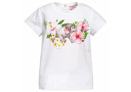 Monnalisa Monnalisa T-Shirt Elephant Flowers White