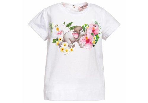 Monnalisa Monnalisa T-Shirt Olifantje Bloemen Wit