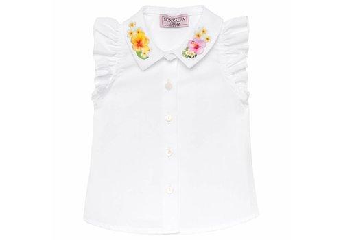 Monnalisa Monnalisa Blouse White Flowers Collar