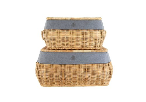 Theophile & Patachou Theophile & Patachou Set Van 2 Wicker Toy Cases + Cover Jersey Anthracite