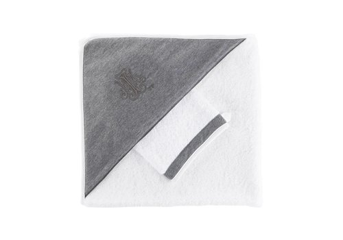 Theophile & Patachou Theophile & Patachou Hooded Towel + Washcloth Anthracite