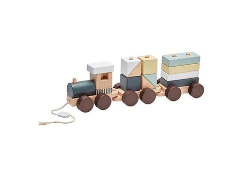 Kids Concept Kids Concept Train With Blocks Naturel