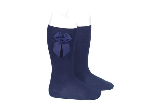 Condor Condor Knee Socks With Bow On The Side Navy