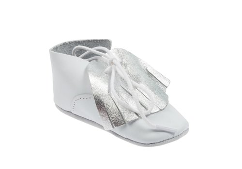 Le Petit Fils Du Cordonnier Le Petit Fils Du Cordonnier Baby Shoes White - Silver