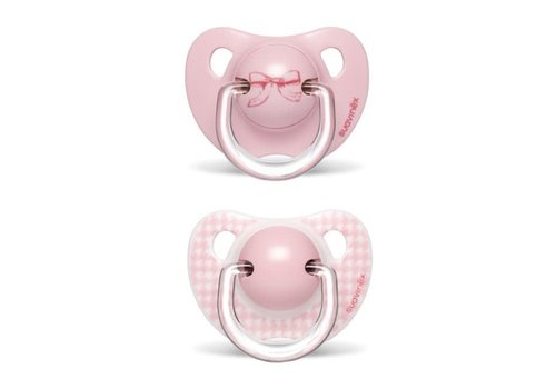 Suavinex Suavinex Soother Silicone Anatomical 6-18M Toys Pink DUO Bow