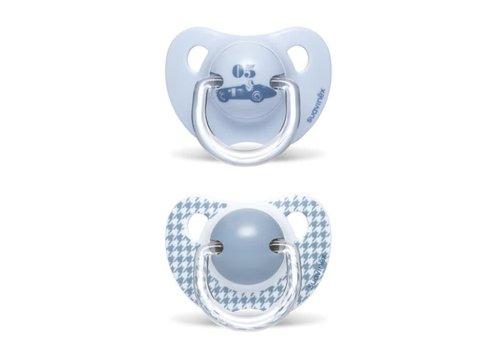 Suavinex Suavinex Fopspeen Silicone Anatomical 6-18M Toys Bleu DUO Auto - Geruit
