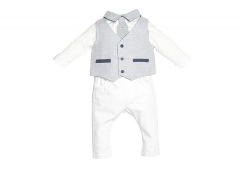 First First Babypakjes Gilet + Broek Wit - Blauw