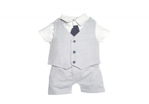 My First Collection First Short Set Bodyshirt + Gilet + Pants White - Blue