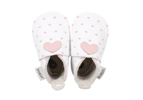 Bobux Bobux Soft Soles White With Pink Hearts