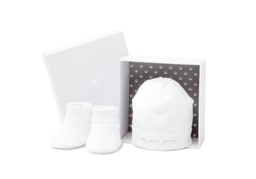 First First Hat 'My First Friend' + Booties White