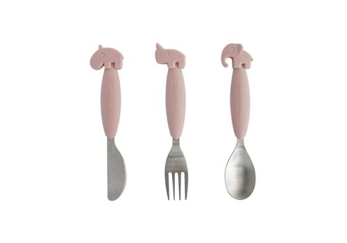 Done By Deer Done By Deer Cutlery YumyPlus Easy Grip Set Pink
