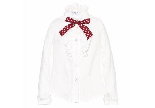 Monnalisa Monnalisa Shirt White - Red Bow