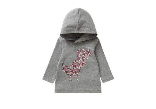 Il Gufo Il Gufo Hooded T-Shirt Dino Red - Grey