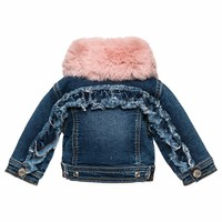 Monnalisa Denim Jacket Pink Collar (Detachable)