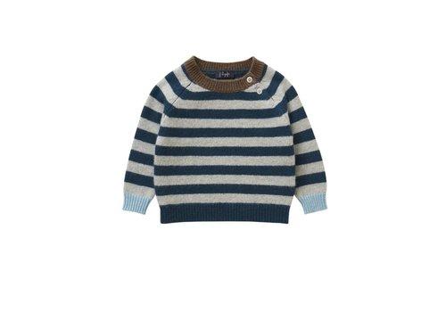 Il Gufo Il Gufo Sweater Strepen Grijs - Blauw