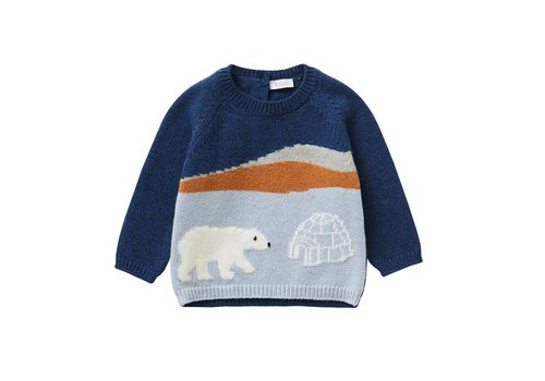 Il Gufo Il Gufo Sweater Polar Bear Ink Blue - Ice Blue