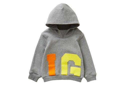 Il Gufo Il Gufo Sweater Met Kap Grijs - Geel