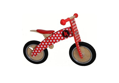 KiddiMoto KiddiMoto Balance Bike Kurve Dotty Red & White