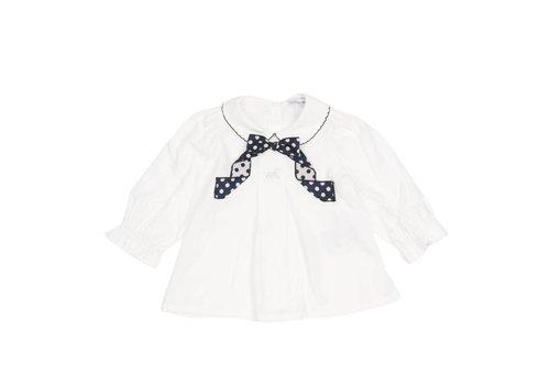 Monnalisa Monnalisa Shirt White Blue Bow