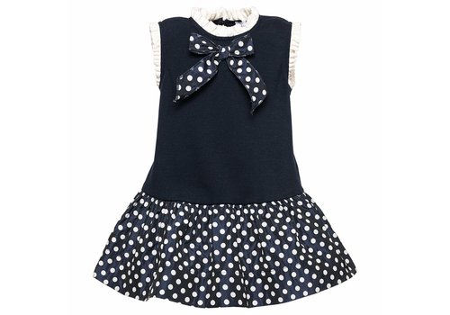 Monnalisa Monnalisa Dress Bow Spots Blue White