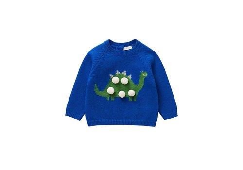 Il Gufo Il Gufo Sweater Dino Blauw Groen