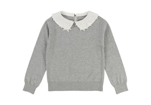 Chloe Chloe Sweater Grey Collar White