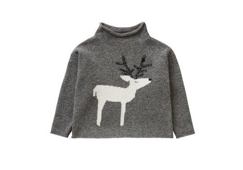 Il Gufo Il Gufo Sweater Asphalt Grey/Milk Hert