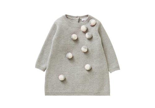 Il Gufo Il Gufo Dress Grey Pompon