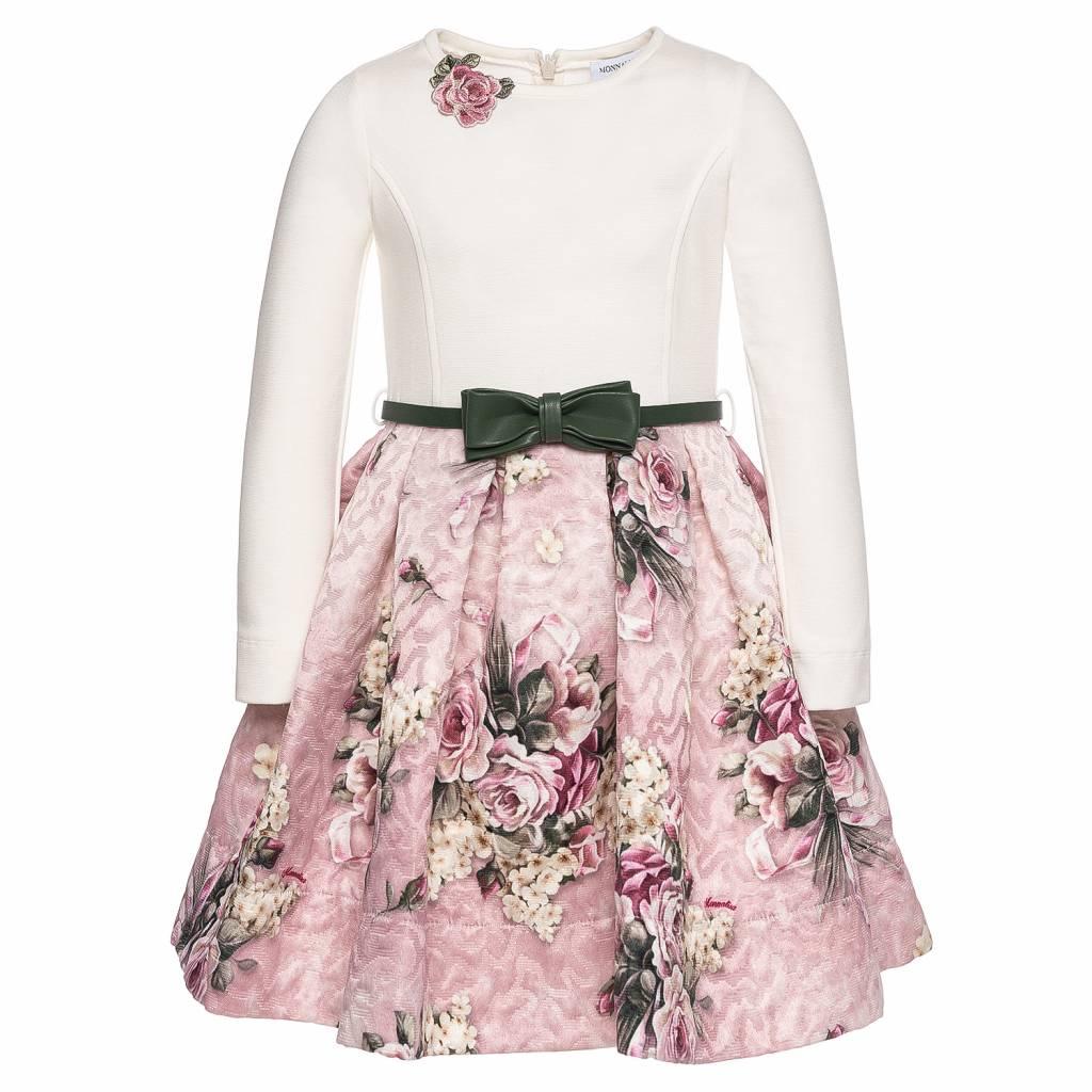 Monnalisa Kinderkleding.Monnalisa Dress St Mazzolini Offwhite Pink Jules Juliette