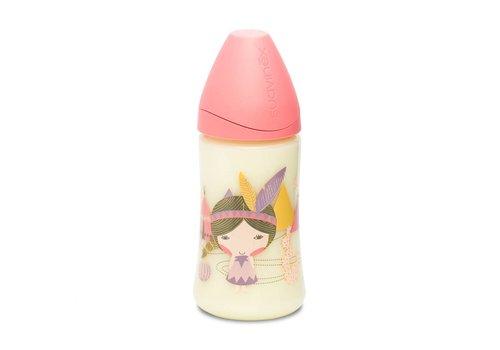 Suavinex Suavinex Drinking Bottle Silicone 3 Pos. 270 ml Pink Indian