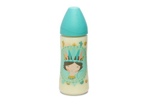 Suavinex Suavinex Drinking Bottle Silicone 3 Pos. 360ml Blue Indian