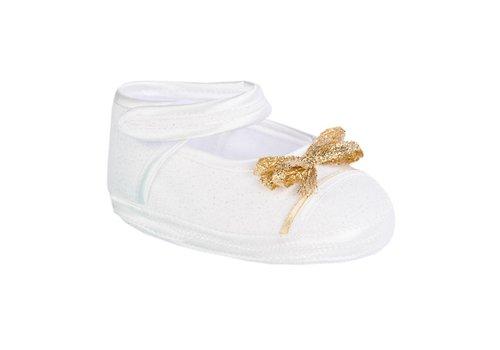 Aletta Aletta Ballerina Wit - Gouden Strik