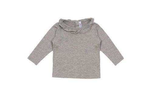 Aletta Aletta T-Shirt Lange Mouwen Grijs - Rand Glitter Kraag