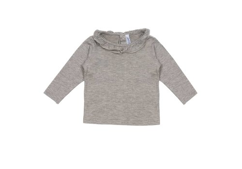 Aletta Aletta T-Shirt Long Sleeves Grey - Border Glitter Collar