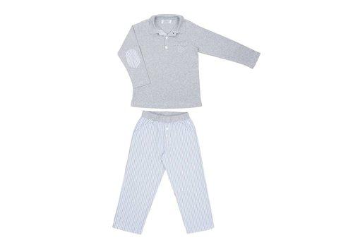 Cotolini Cotolini Pyjama Flanelle Marcel Gestreept Lichtblauw - Grijs