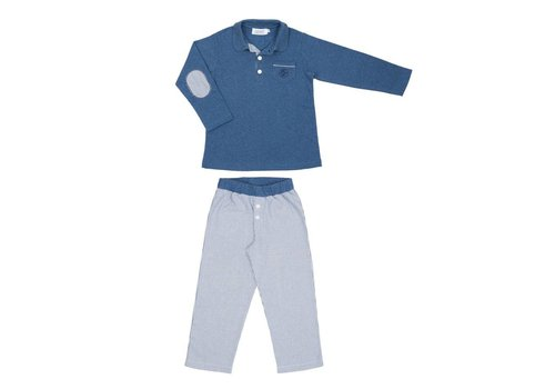 Cotolini Cotolini Pyjama Marcel Flanelle Gestreept Navy