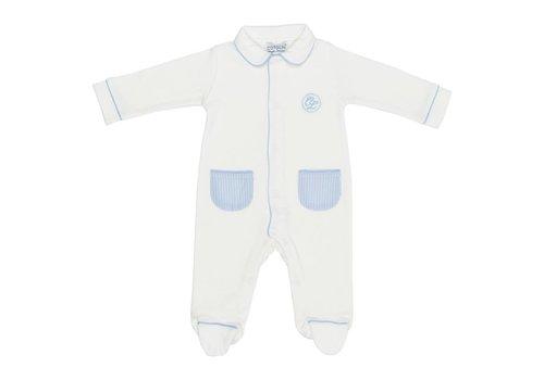 Cotolini Cotolini Baby Pyjama Theophile Wit - Blauw Gestreept