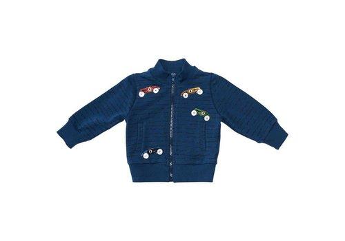 Monnalisa Monnalisa Sweater With Zipper Blue Cars