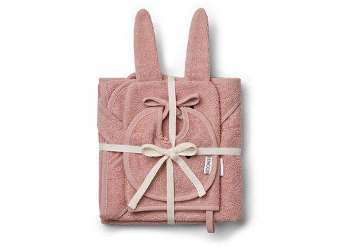 Liewood Liewood Baby Cadeau - Slab - Washand - Badcape Konijn Roze