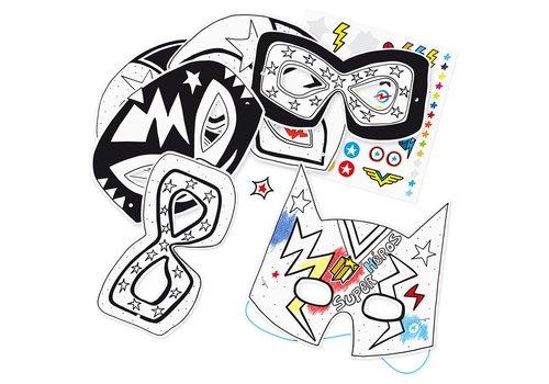 Label'tour Label'tour Paper Masks Coloring Super Hero 6 Pieces