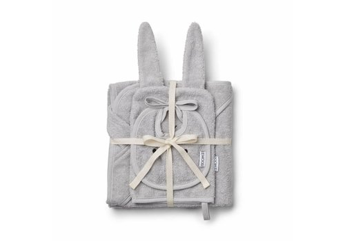 Liewood Liewood Kids Gift Set - Bib - Wash Cloth - Hooded Towel Dumbo Grey