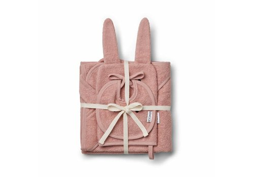 Liewood Liewood Kids Gift Set - Bib - Wash Cloth - Hooded Towel Rabbit Pink